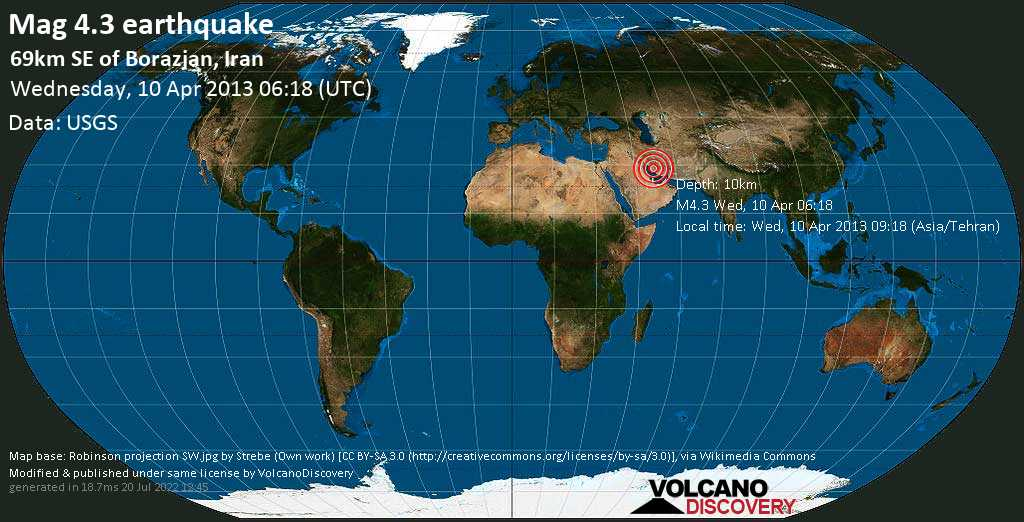 Light mag. 4.3 earthquake  - 69km SE of Borazjan, Iran on Wednesday, 10 April 2013