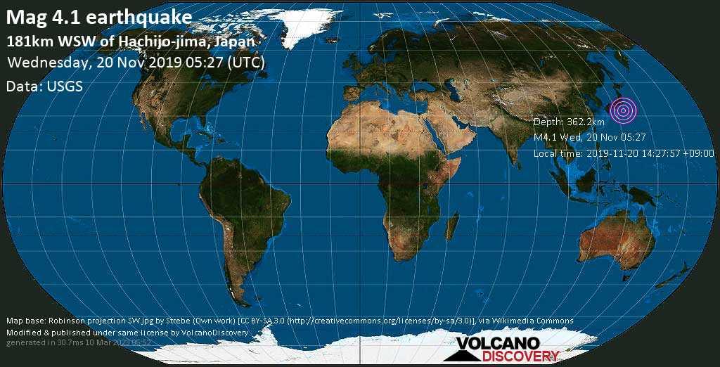 Light mag. 4.1 earthquake  - 181km WSW of Hachijo-jima, Japan on Wednesday, 20 November 2019