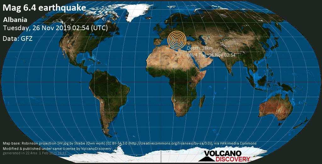 M 6.4 quake: Albania on Tue, 26 Nov 02h54