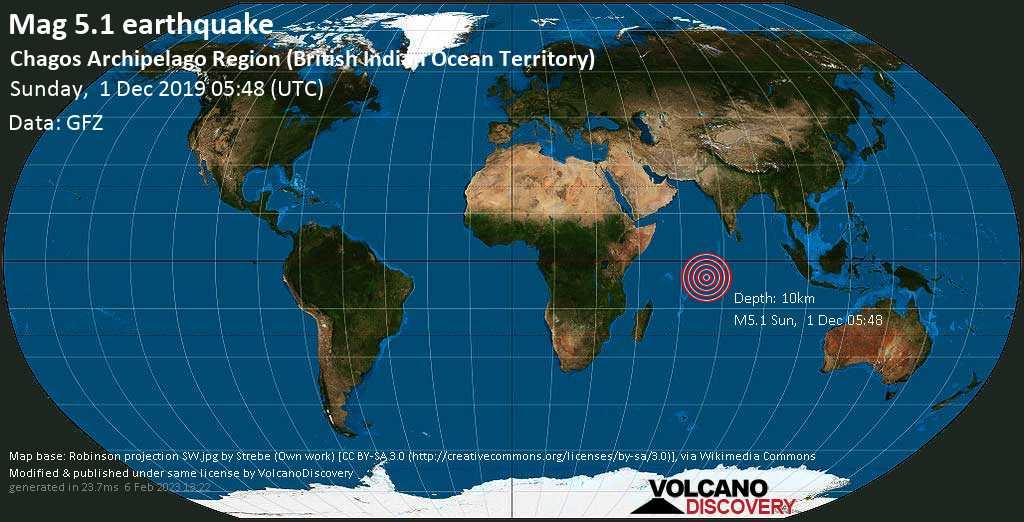 Moderate mag. 5.1 earthquake  - Chagos Archipelago Region (British Indian Ocean Territory) on Sunday, 1 December 2019