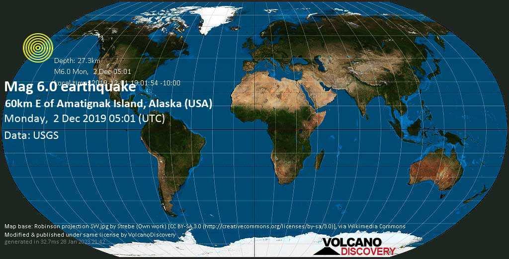 Strong mag. 6.0 earthquake  - 60km E of Amatignak Island, Alaska (USA) on Monday, 2 December 2019