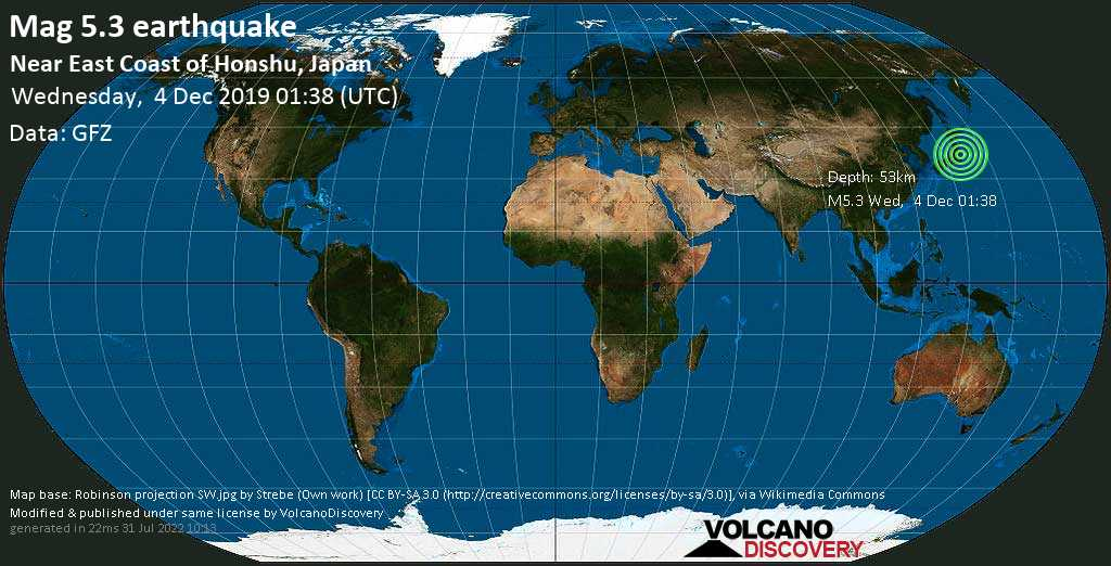 Moderate mag. 5.3 earthquake  - Near East Coast of Honshu, Japan on Wednesday, 4 December 2019