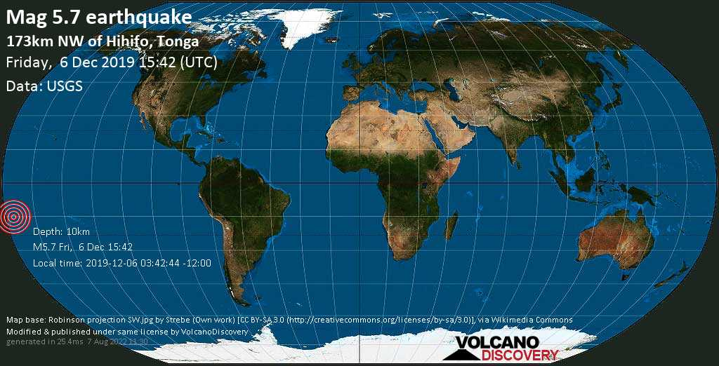 Moderate mag. 5.7 earthquake  - 173km NW of Hihifo, Tonga on Friday, 6 December 2019