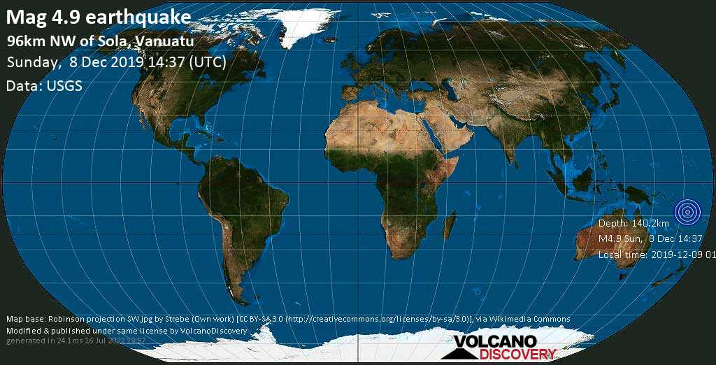 Light mag. 4.9 earthquake  - 96km NW of Sola, Vanuatu on Sunday, 8 December 2019