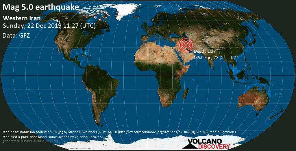 Moderate mag. 5.0 earthquake  - Western Iran on Sunday, 22 December 2019