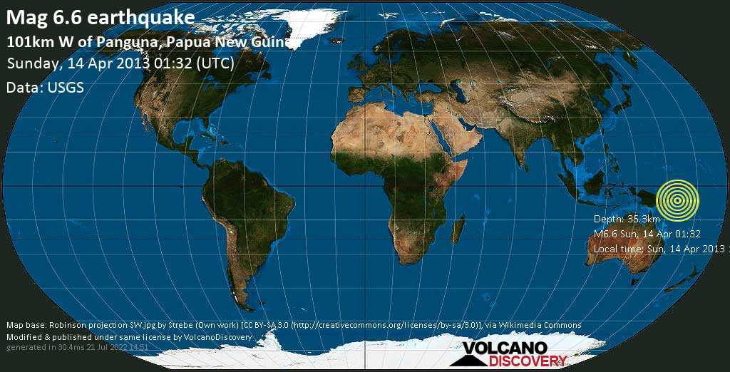 Strong mag. 6.6 earthquake  - 101km W of Panguna, Papua New Guinea on Sunday, 14 April 2013