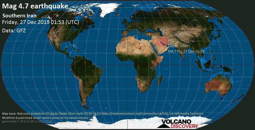 Light mag. 4.7 earthquake  - Southern Iran on Friday, 27 December 2019