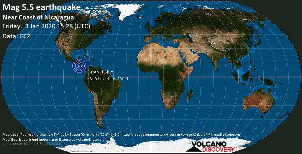 Moderate mag. 5.5 earthquake  - Near Coast of Nicaragua on Friday, 3 January 2020