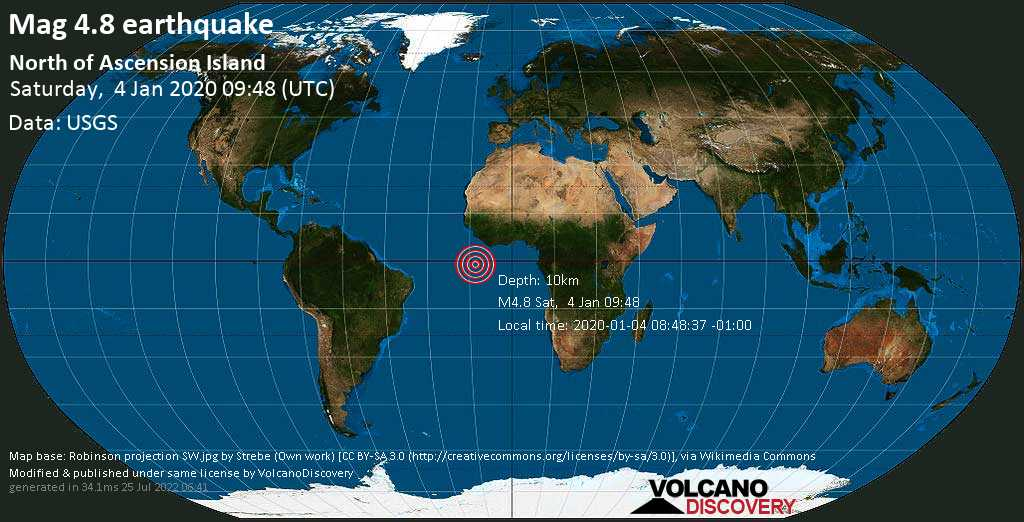 Light mag. 4.8 earthquake  - North of Ascension Island on Saturday, 4 January 2020