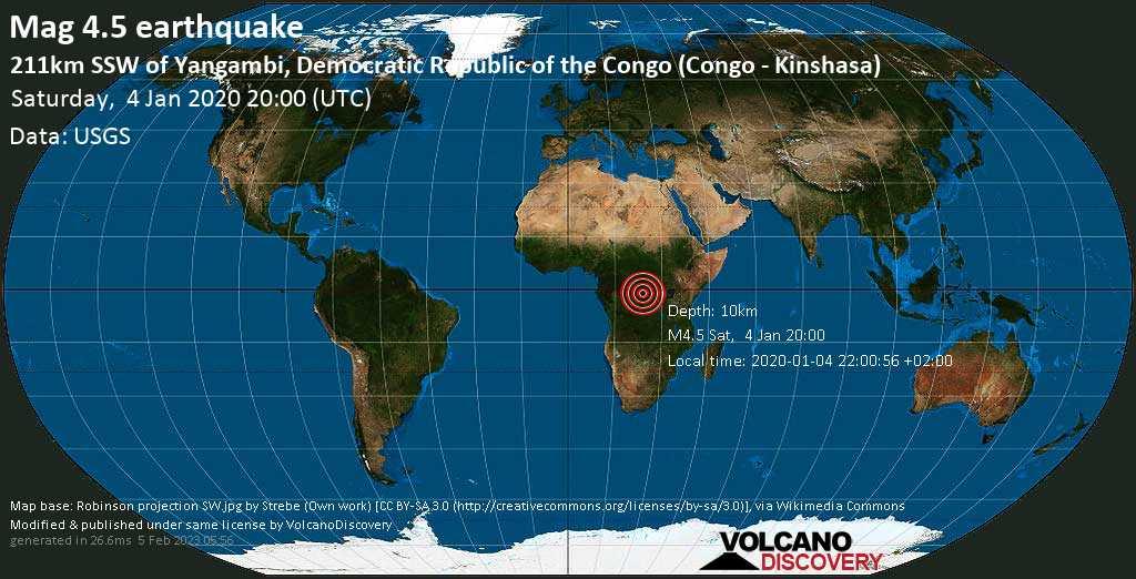 Light mag. 4.5 earthquake  - 211km SSW of Yangambi, Democratic Republic of the Congo (Congo - Kinshasa) on Saturday, 4 January 2020