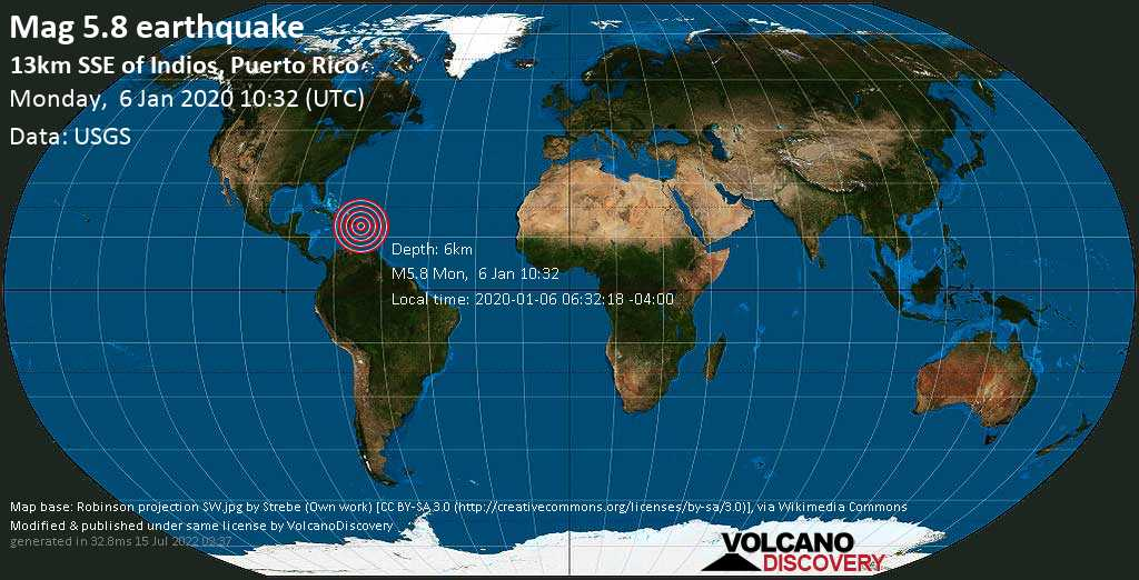 Moderate mag. 5.8 earthquake  - 13km SSE of Indios, Puerto Rico on Monday, 6 January 2020
