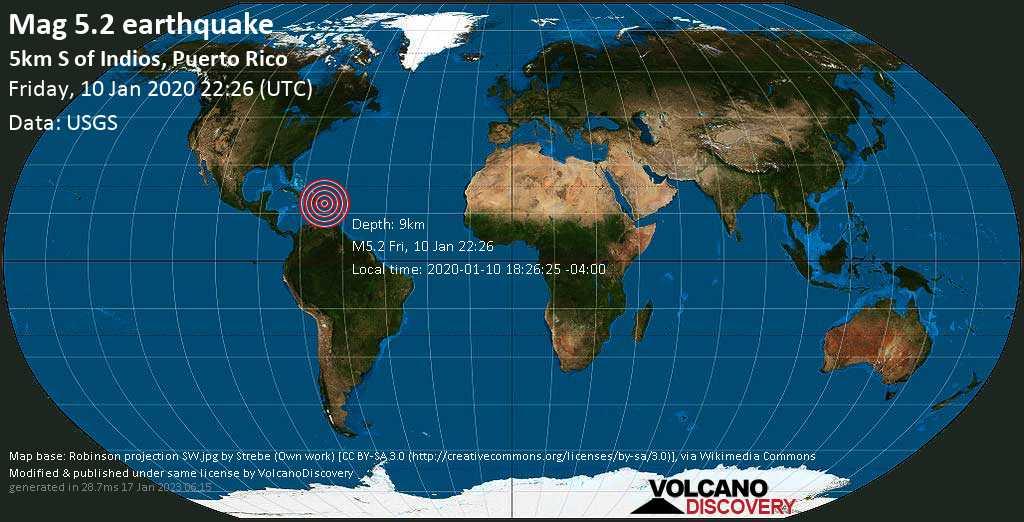 Moderado terremoto magnitud 5.2 - 5km S of Indios, Puerto Rico viernes, 10 ene. 2020