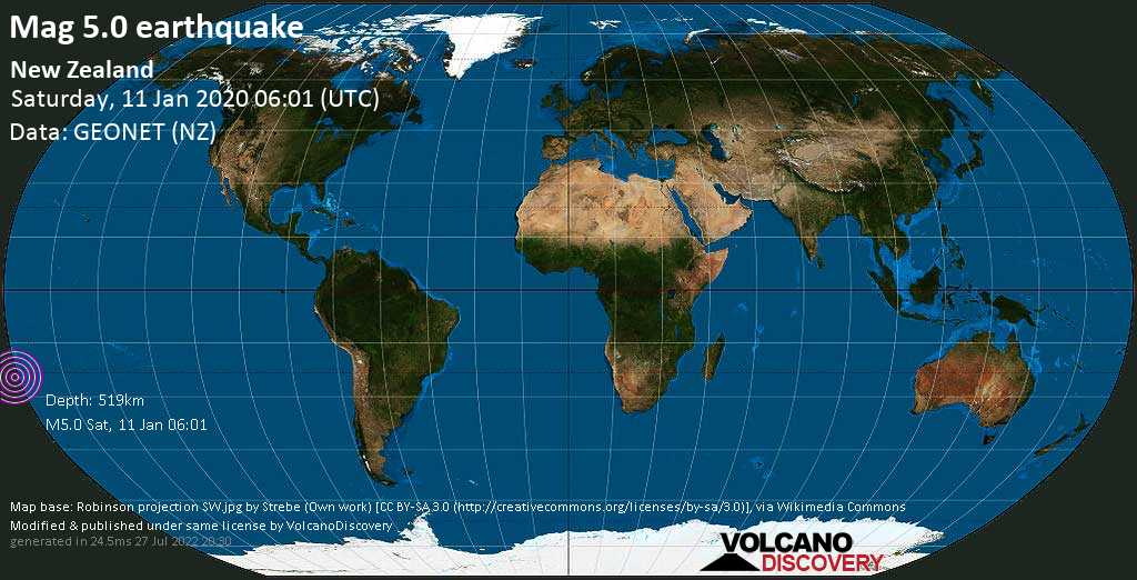 Moderate mag. 5.0 earthquake  - New Zealand on Saturday, 11 January 2020