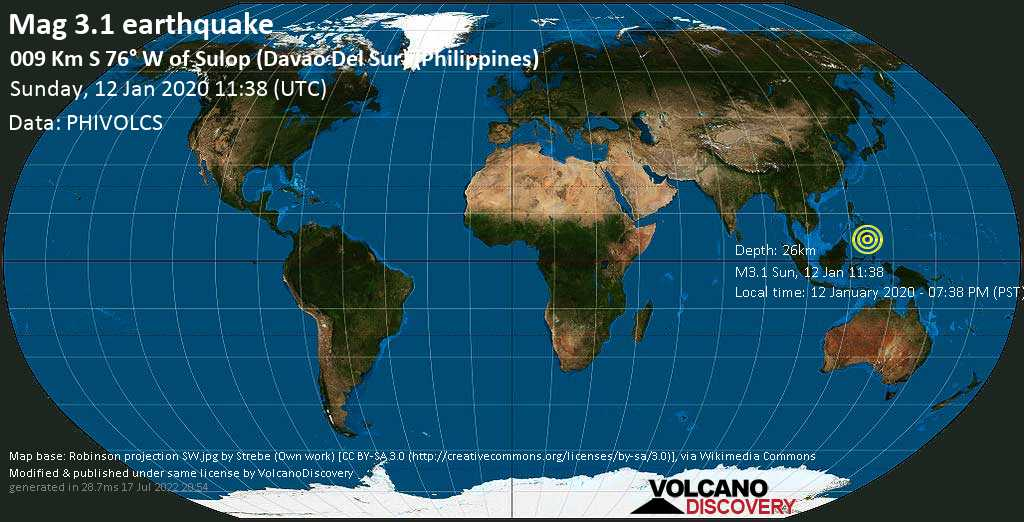 Debile terremoto magnitudine 3.1 - 009 km S 76° W of Sulop (Davao Del Sur) (Philippines) domenica, 12 gennaio 2020