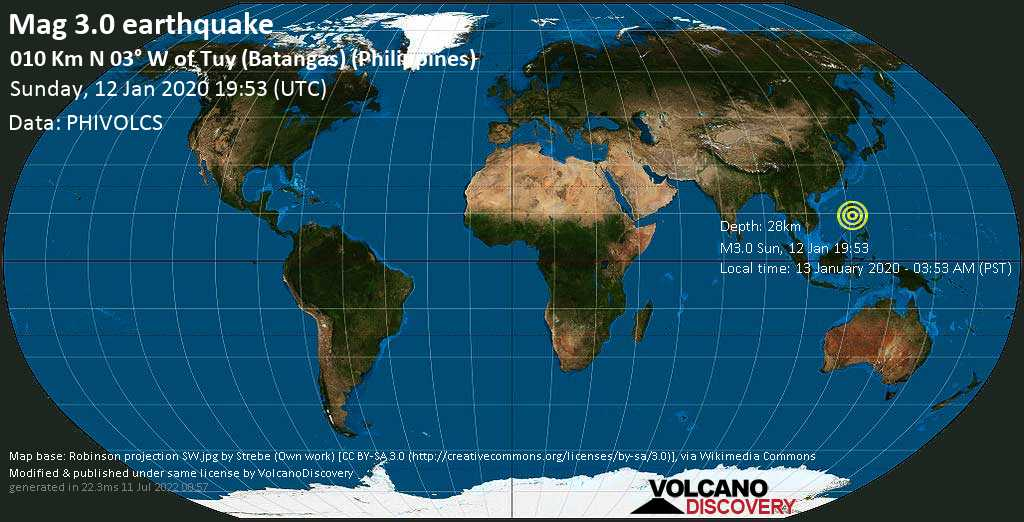 Débil terremoto magnitud 3.0 - 010 km N 03° W of Tuy (Batangas) (Philippines) domingo, 12 ene. 2020