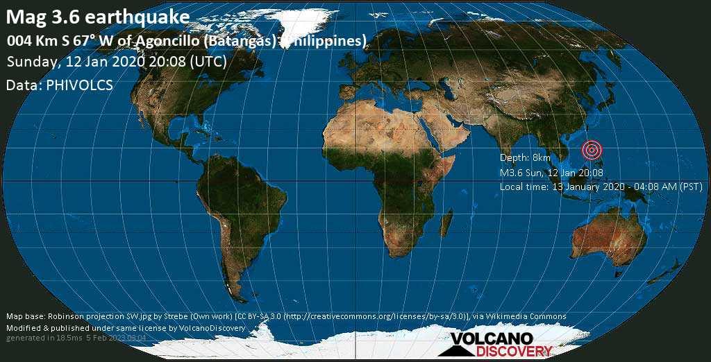 Débil terremoto magnitud 3.6 - 004 km S 67° W of Agoncillo (Batangas) (Philippines) domingo, 12 ene. 2020