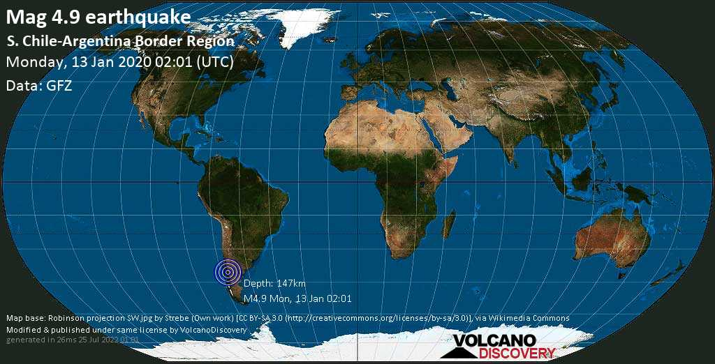 Light mag. 4.9 earthquake  - S. Chile-Argentina Border Region on Monday, 13 January 2020