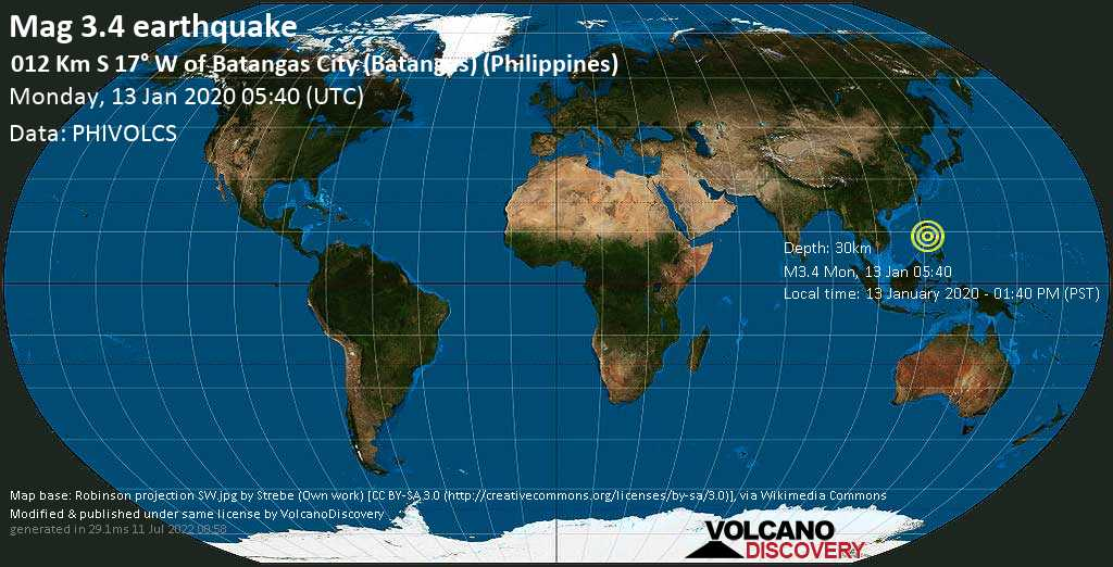 Minor mag. 3.4 earthquake  - 012 km S 17° W of Batangas City (Batangas) (Philippines) on Monday, 13 January 2020