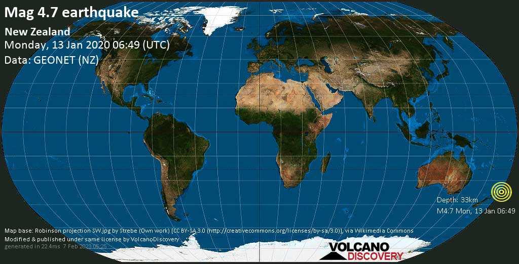 Light mag. 4.7 earthquake  - New Zealand on Monday, 13 January 2020