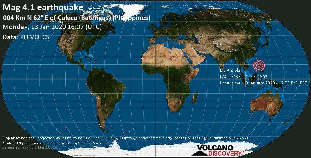 Leggero terremoto magnitudine 4.1 - 004 km N 62° E of Calaca (Batangas) (Philippines) lunedí, 13 gennaio 2020