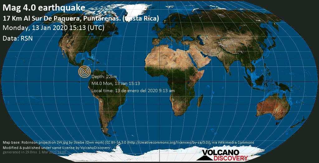 Light mag. 4.0 earthquake  - 17 km al Sur de Paquera, Puntarenas. (Costa Rica) on Monday, 13 January 2020