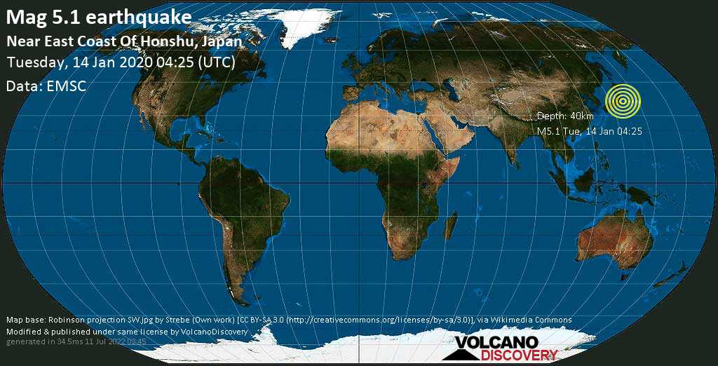 Moderado terremoto magnitud 5.1 - Near East Coast Of Honshu, Japan martes, 14 ene. 2020
