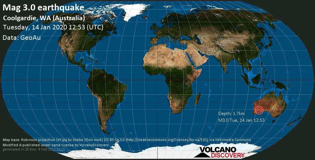 Minor mag. 3.0 earthquake  - Coolgardie, WA (Australia) on Tuesday, 14 January 2020