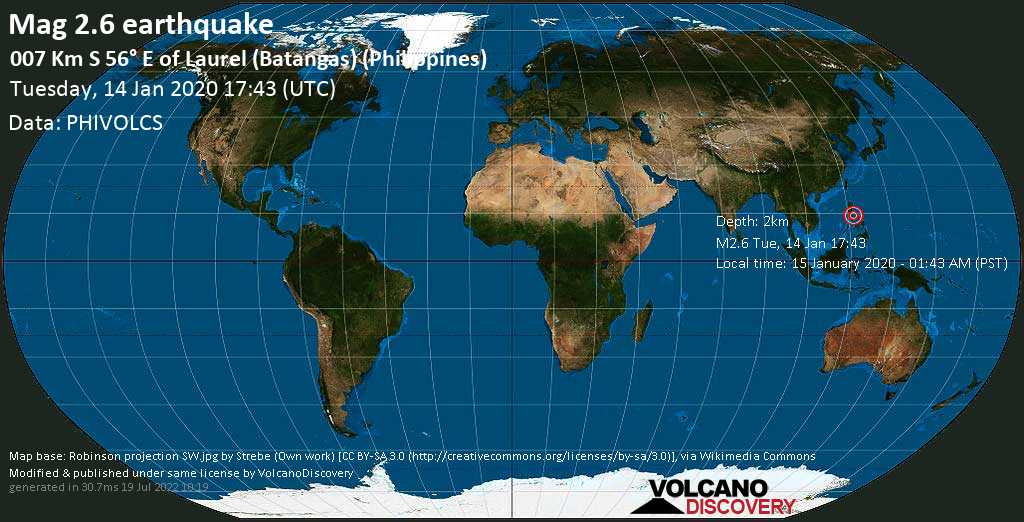 Minor mag. 2.6 earthquake  - 007 km S 56° E of Laurel (Batangas) (Philippines) on Tuesday, 14 January 2020