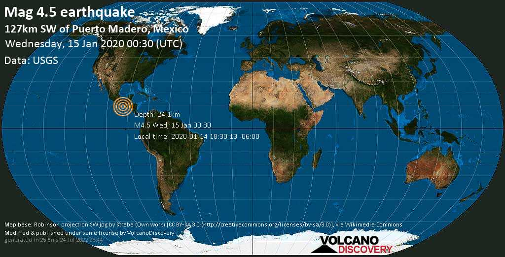 Light mag. 4.5 earthquake  - 127km SW of Puerto Madero, Mexico on Wednesday, 15 January 2020