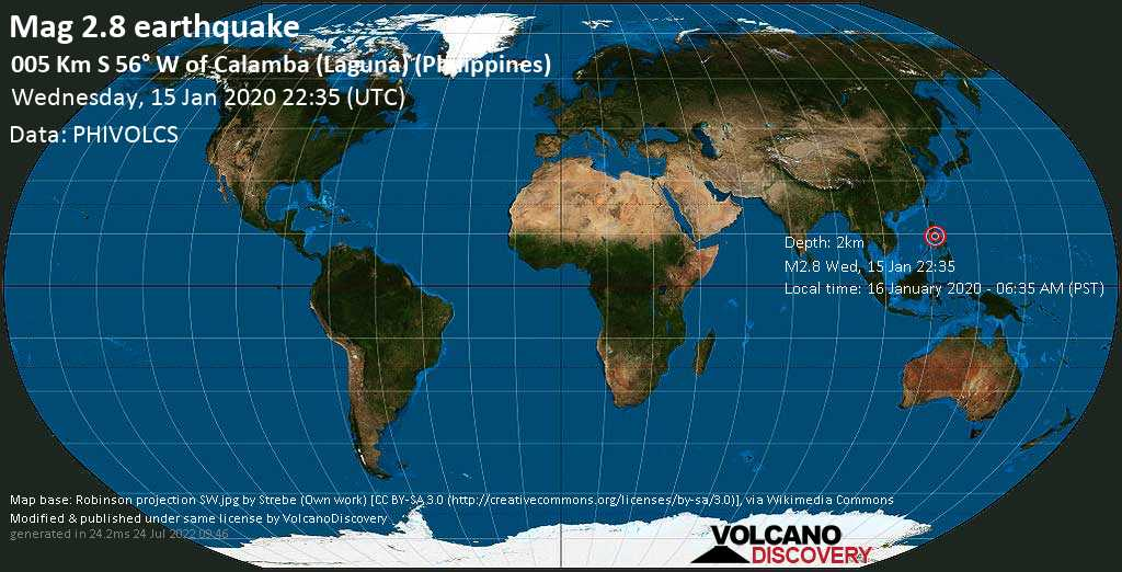 Minor mag. 2.8 earthquake  - 005 km S 56° W of Calamba (Laguna) (Philippines) on Wednesday, 15 January 2020