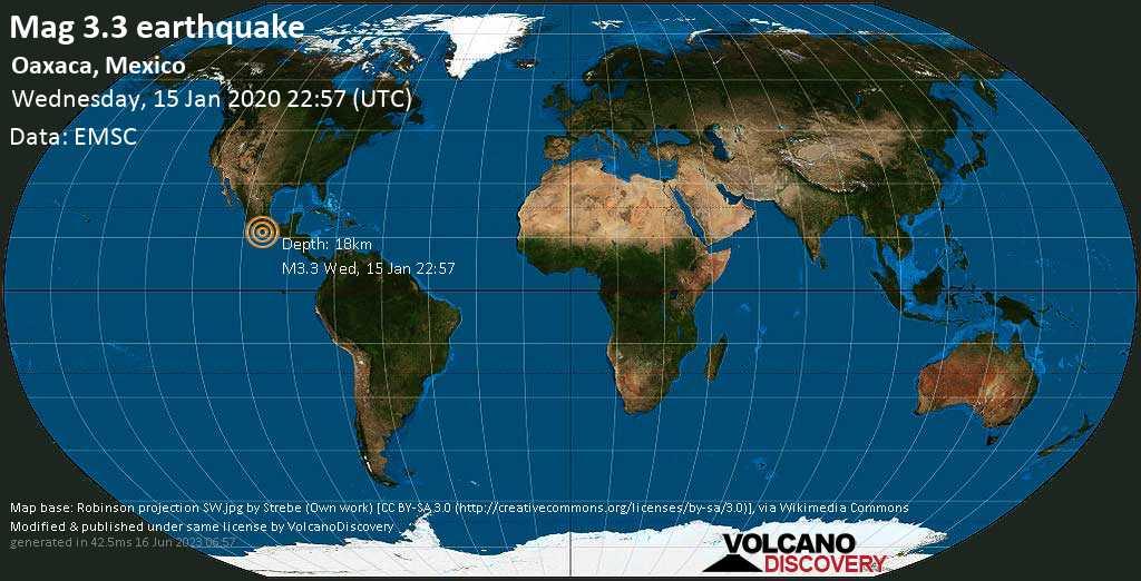Minor mag. 3.3 earthquake  - Oaxaca, Mexico on Wednesday, 15 January 2020