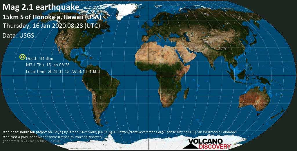Minor mag. 2.1 earthquake  - 15km S of Honoka\'a, Hawaii (USA) on Thursday, 16 January 2020