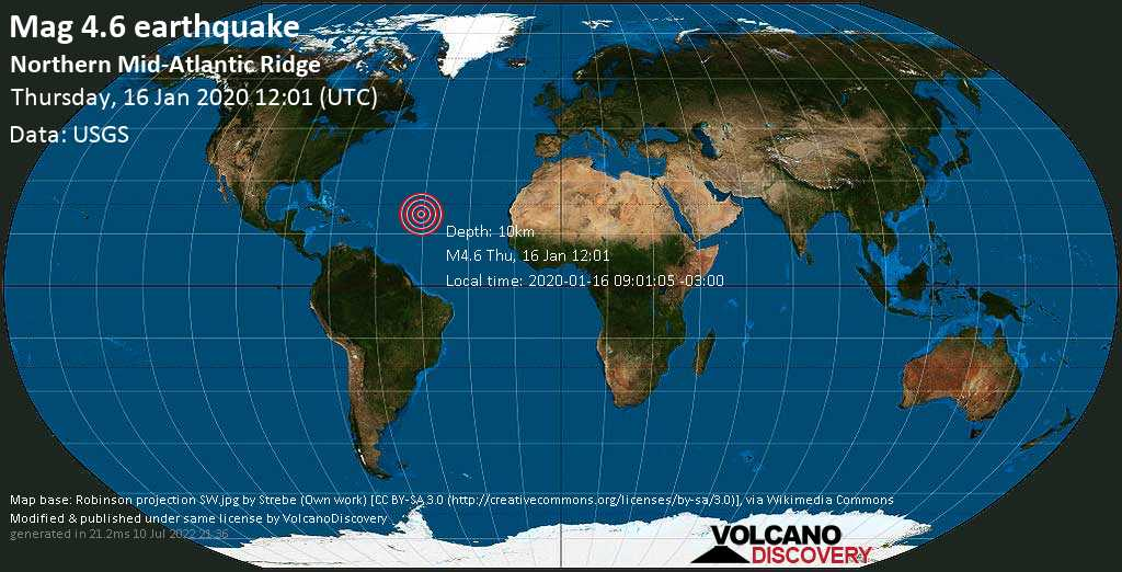 Light mag. 4.6 earthquake  - Northern Mid-Atlantic Ridge on Thursday, 16 January 2020