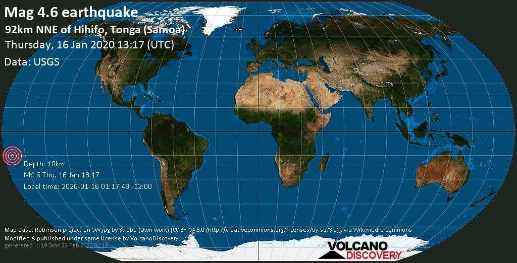 Light mag. 4.6 earthquake  - 92km NNE of Hihifo, Tonga (Samoa) on Thursday, 16 January 2020