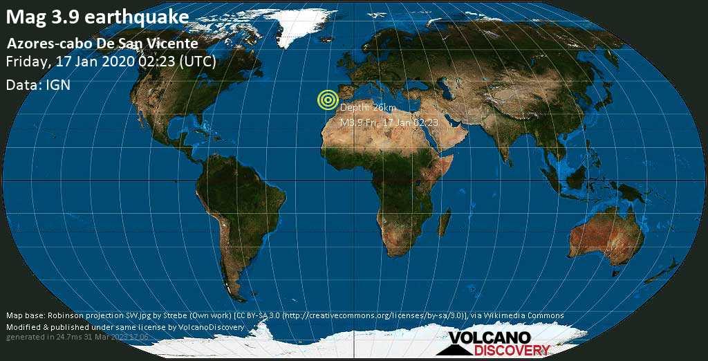 Minor mag. 3.9 earthquake  - Azores-cabo De San Vicente on Friday, 17 January 2020