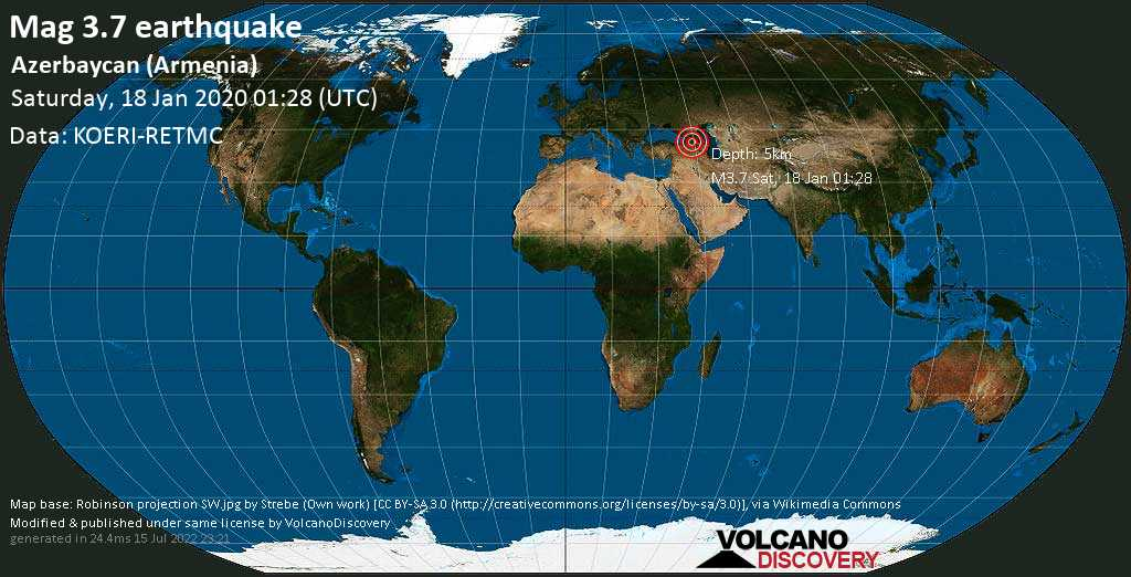 Minor mag. 3.7 earthquake  - Azerbaycan (Armenia) on Saturday, 18 January 2020