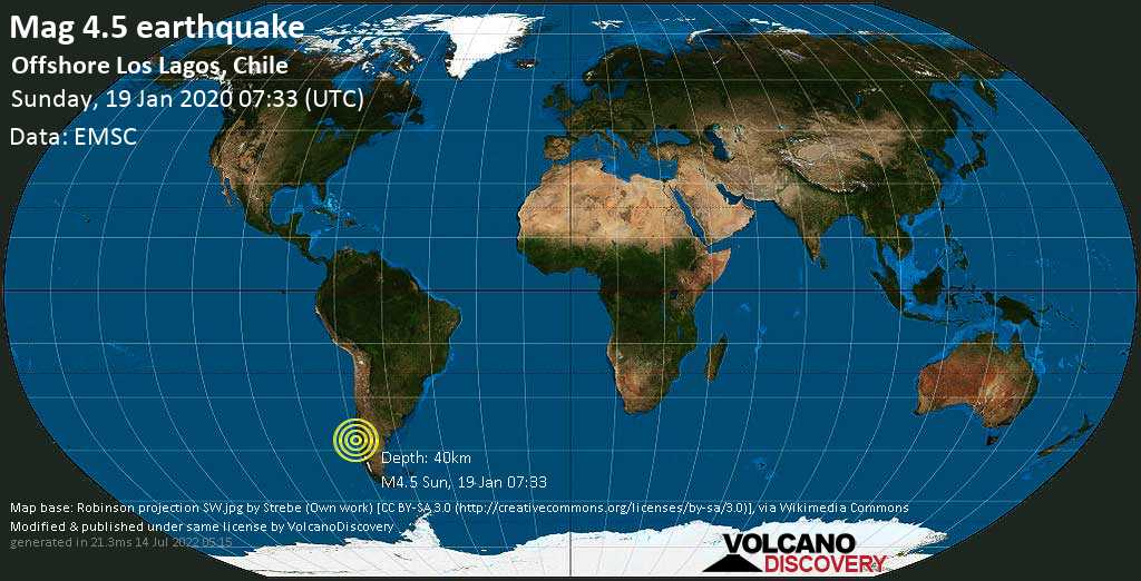 Light mag. 4.5 earthquake  - Offshore Los Lagos, Chile on Sunday, 19 January 2020