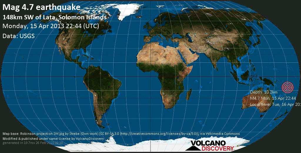Leichtes Erdbeben der Stärke 4.7 - 148km SW of Lata, Solomon Islands am Montag, 15. Apr. 2013