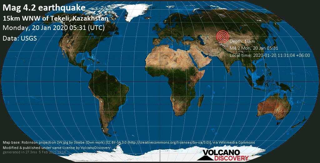 Light mag. 4.2 earthquake  - 15km WNW of Tekeli, Kazakhstan on Monday, 20 January 2020