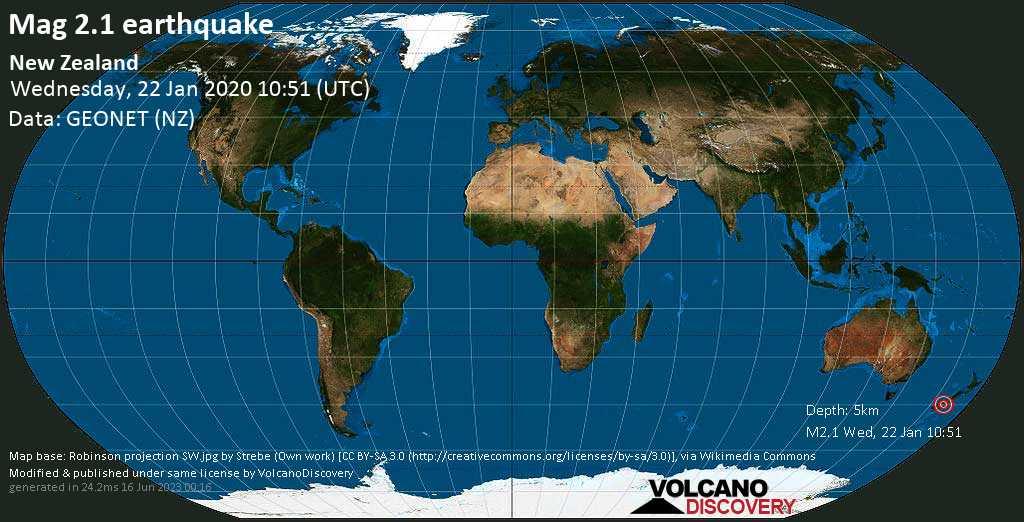 Minor mag. 2.1 earthquake  - New Zealand on Wednesday, 22 January 2020