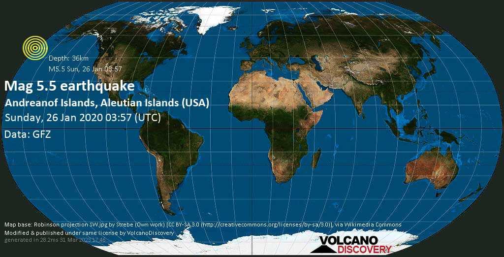 Moderate mag. 5.5 earthquake  - Andreanof Islands, Aleutian Islands (USA) on Sunday, 26 January 2020