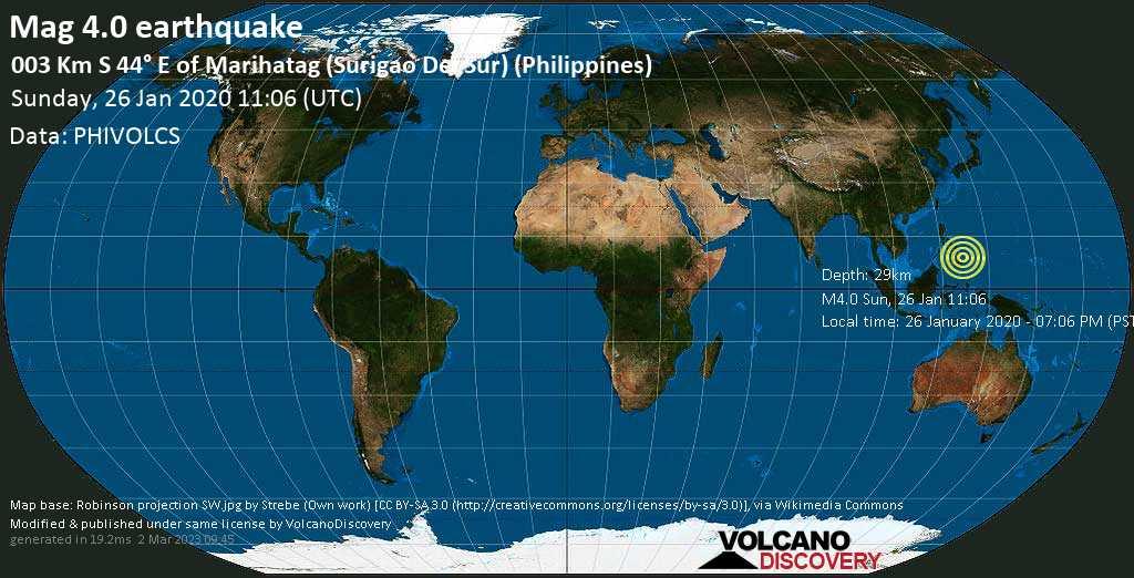 Leichtes Erdbeben der Stärke 4.0 - 003 km S 44° E of Marihatag (Surigao Del Sur) (Philippines) am Sonntag, 26. Jan. 2020