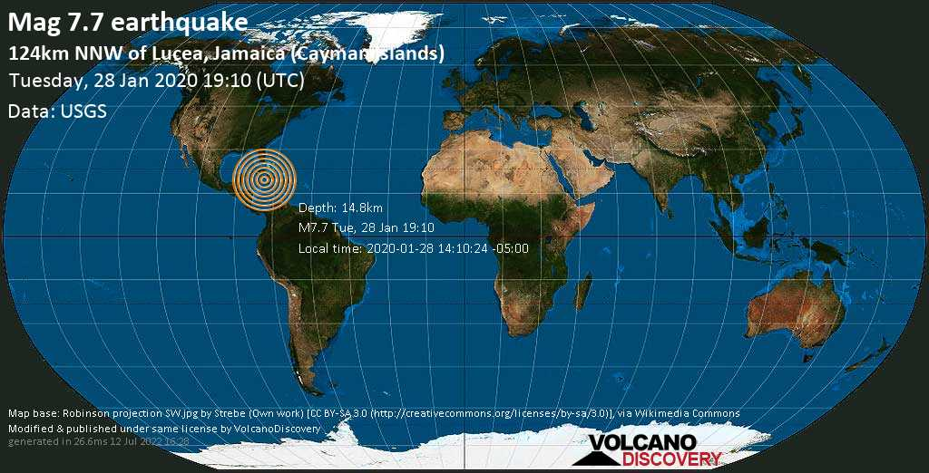 Major mag. 7.7 earthquake  - 124km NNW of Lucea, Jamaica (Cayman Islands) on Tuesday, 28 January 2020