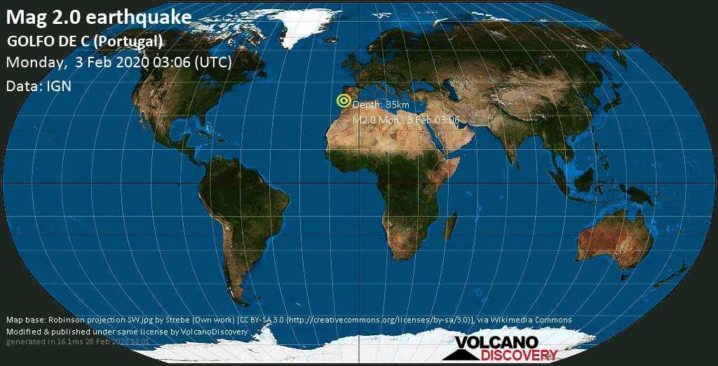 Débil terremoto magnitud 2.0 - GOLFO DE C (Portugal) lunes, 03 feb. 2020
