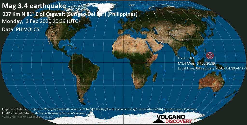 Schwaches Erdbeben der Stärke 3.4 - 037 km N 81° E of Cagwait (Surigao Del Sur) (Philippines) am Montag, 03. Feb. 2020