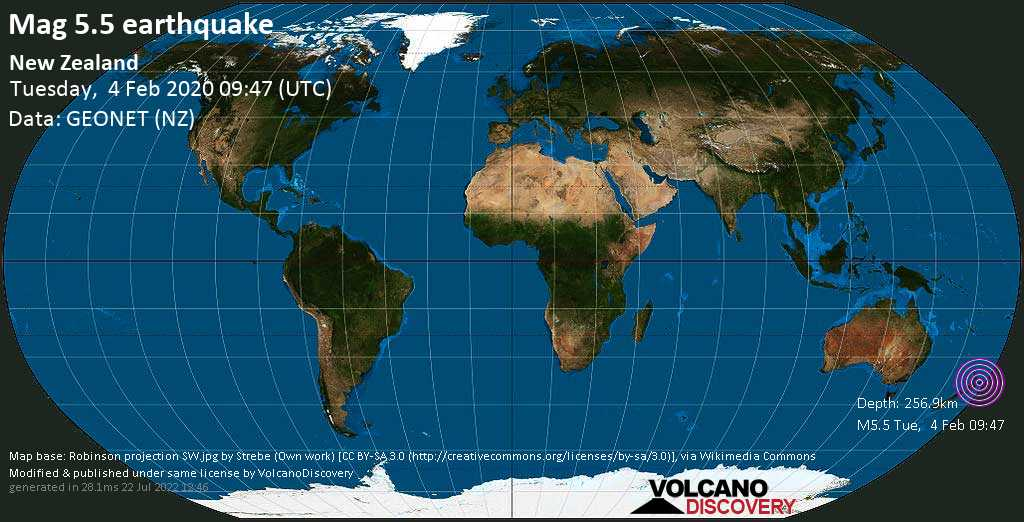 Moderate mag. 5.5 earthquake  - New Zealand on Tuesday, 4 February 2020