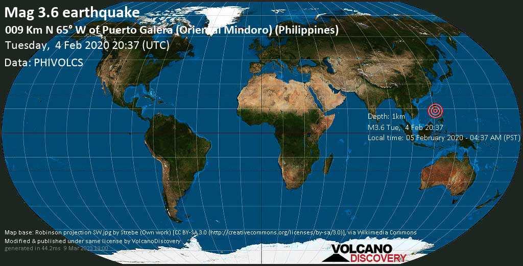 Schwaches Erdbeben der Stärke 3.6 - 009 km N 65° W of Puerto Galera (Oriental Mindoro) (Philippines) am Dienstag, 04. Feb. 2020