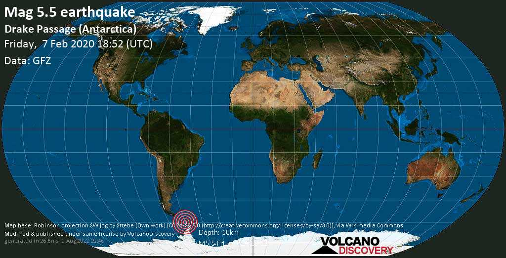 Moderate mag. 5.5 earthquake  - Drake Passage (Antarctica) on Friday, 7 February 2020