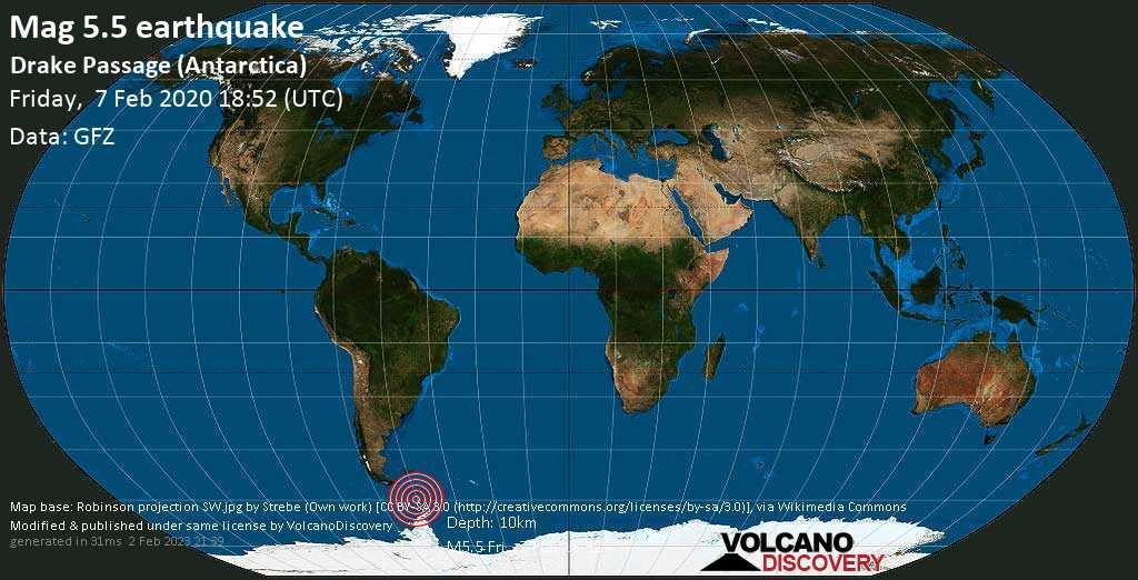 Moderado terremoto magnitud 5.5 - Drake Passage (Antarctica) viernes, 07 feb. 2020