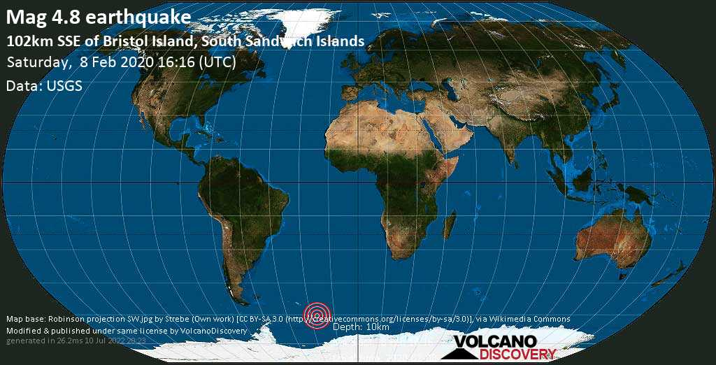 Leve terremoto magnitud 4.8 - 102km SSE of Bristol Island, South Sandwich Islands sábado, 08 feb. 2020